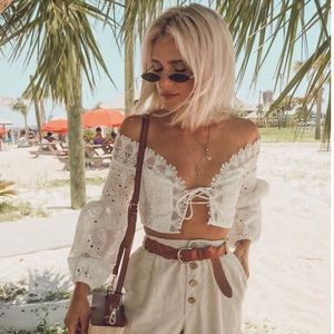 White Lace Up Eyelet Crop Top